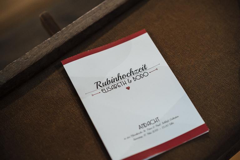 Rubinhochzeit, Heiraten in Ostwestfalen, Andacht